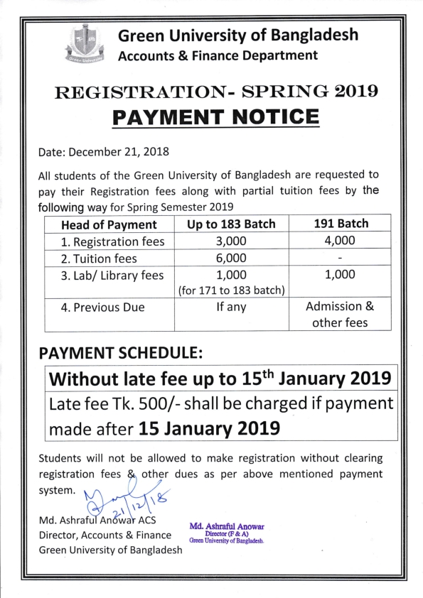 Notice regarding payment of Registration fees for Spring Semester